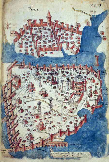 Cristoforo Buondelmonti - Map of Constantinople. From his Liber insularum archipelagi (1422).