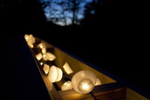 Summer party lights // use Christmas lights + cupcake liners. Brilliant.