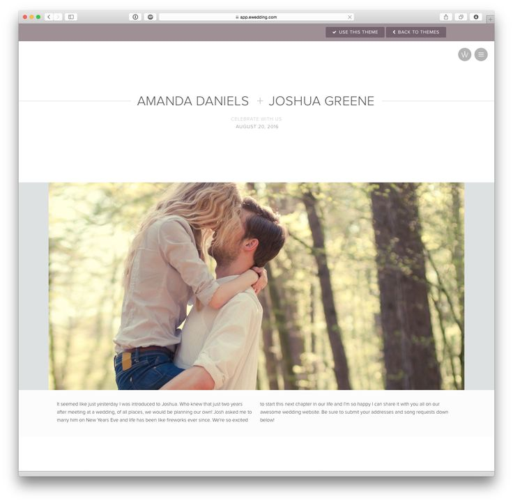'Avery' wedding website theme at eWedding.com