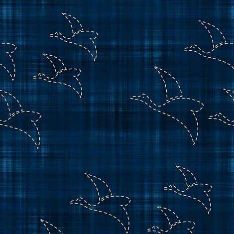 Sashiko: Tori - Birds fabric by bonnie_phantasm on Spoonflower - custom fabric