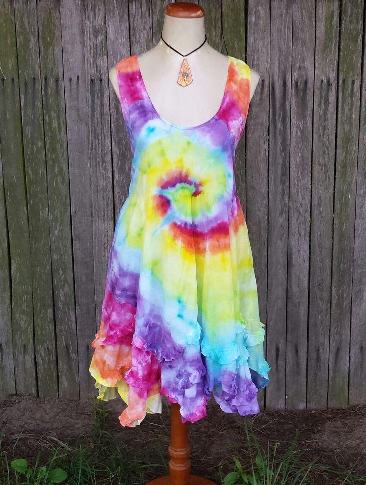 Rainbow hippie tie dye dress by DyingDazeTieDye on Etsy