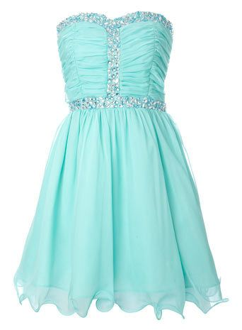 Aqua Chiffon Gem Dress - this is what i think i should wrer for my school dance