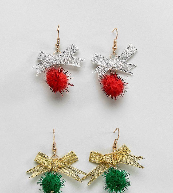 ASOS Holidays Pack of 2 Pom Earrings - Multi