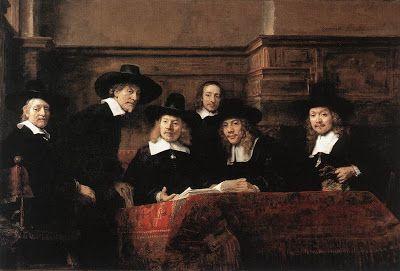 Retrato grupal de los sindicos de Amsterdan. Pintura holandesa. Escuela de Leyden y Amsterdan. Rembrandt (1606-1669).