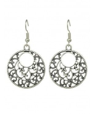 Engraved Alloy Circle Earrings