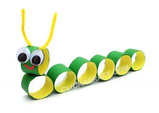 Super Fun Kids Crafts : Toilet Paper Roll Crafts For Kids, craft, children, recycle, tutorial, knutselen, kinderen, basisschool, wc-rol, rups