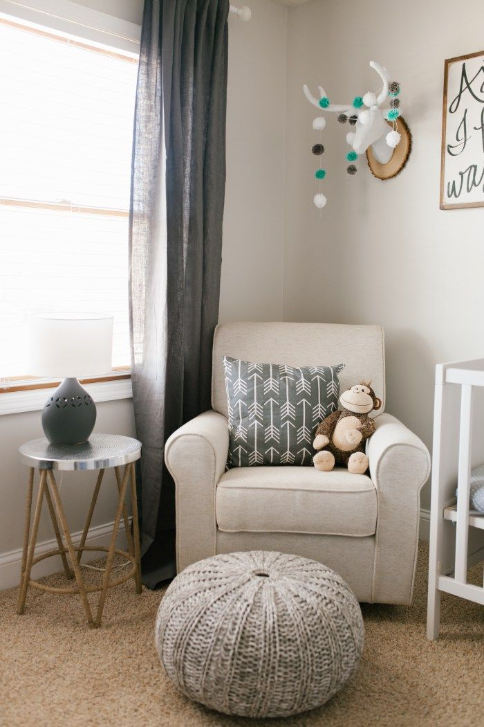 Beautiful rustic neutral nursery with gray, white, and wood accents. So  many cute