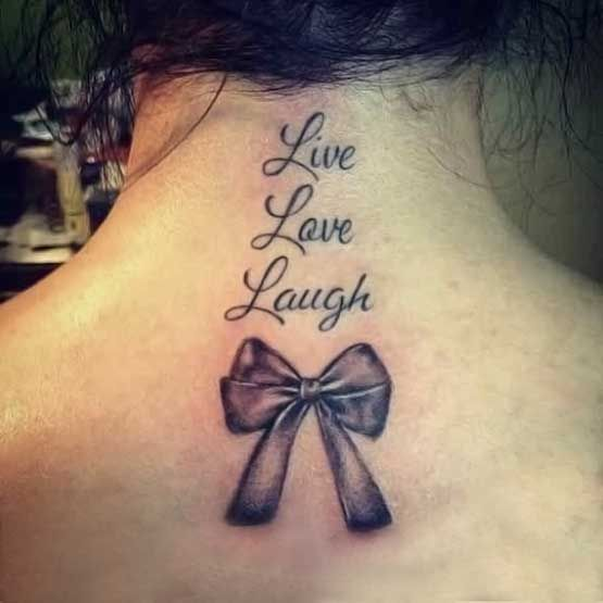 One of my favorite quotes. I am getting this tattoo, minus the bow with small birds flying behind the words.