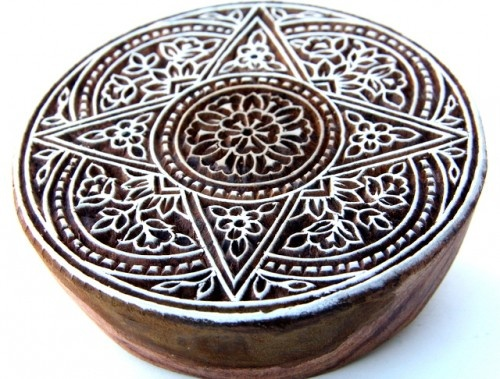 Indian Wood Block Stamp For Textile Printing - Large Round $23.00 Love the stuff on this artfire shop - lots of handcarved wood blocks and silk reclaimed from old sarees and embroidery saved from them as well. And beads. And saffron. India