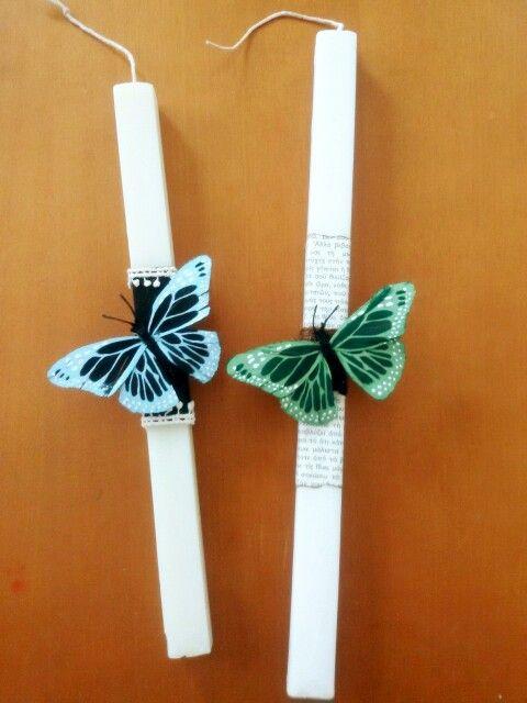 Rectangular handmade Easter candles with butterflies