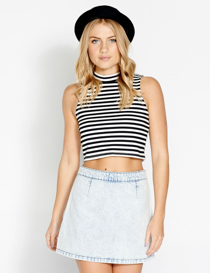 Image for High Neck Stripe Top from Dotti