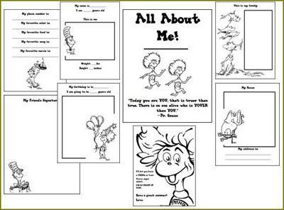 Dr. Seuss All About Me book -- free printable