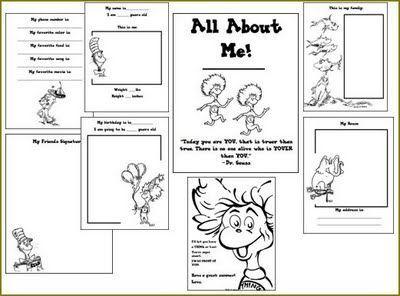 dr seuss all about me book free printable - Printable Kindergarten Books