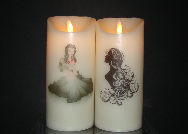 Virgo August 22 ~ September 23  Beautiful flameless pillar candles adorned with Lady Virgo and the Virgin.