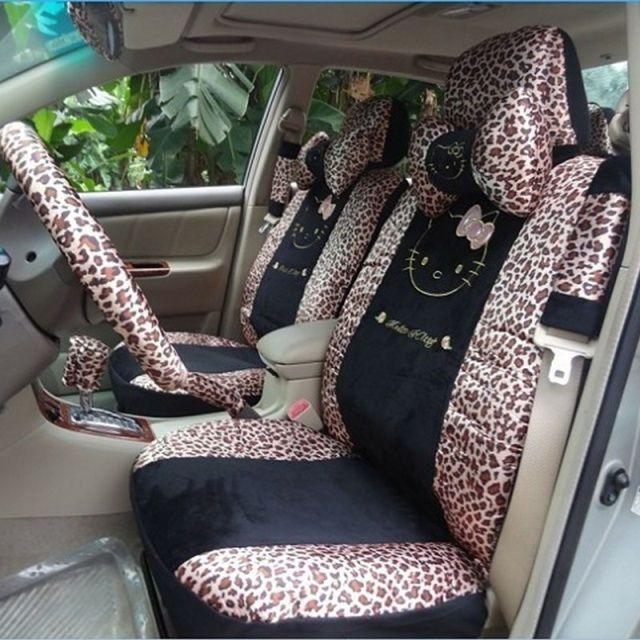 18 PCs Hello Kitty Universal Leopard Print Car Seat Covers Pillows