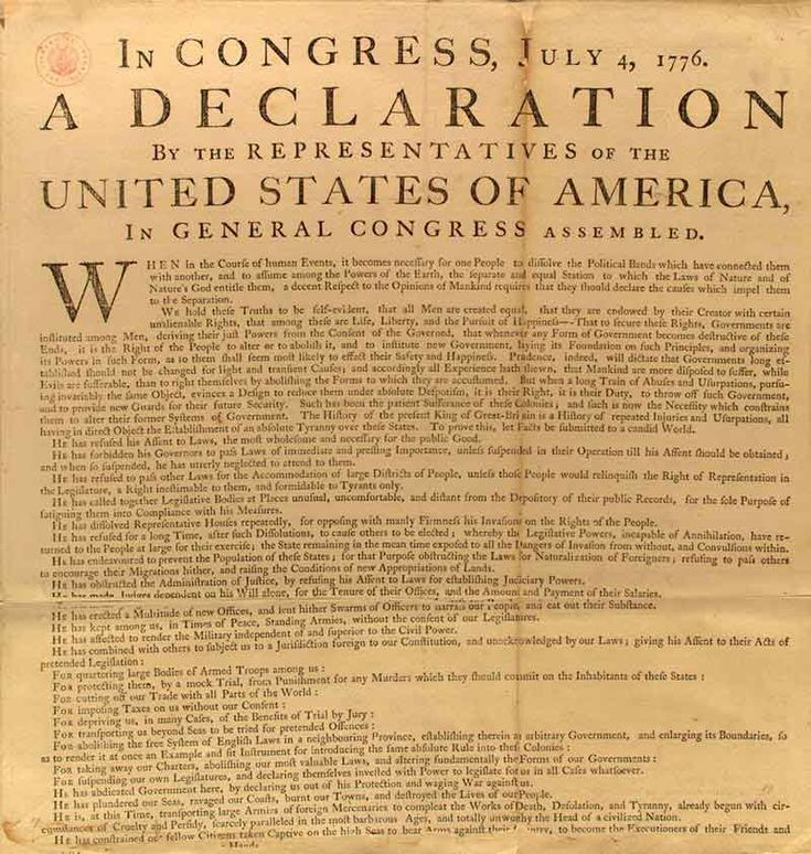 Declaration of Independence is the most famous written document in US history. It was written by Thomas Jefferson and declares independence from Britain.