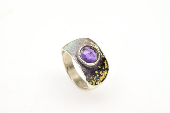 #February #Birthstone, #Amethyst #Gemstone,Statement Ring, Sterling Silver Ring, #Purple Enamel Ring, Christmas Gift, Black Friday, Under 100 €87.90 EUR