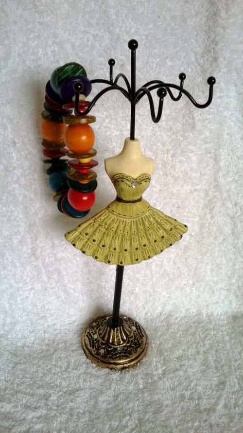 Buy NOVELTY CERAMIC JEWELLERY STAND & HANDMADE RAINBOW COLOR STRETCHY STACK BRACELET for R1.00