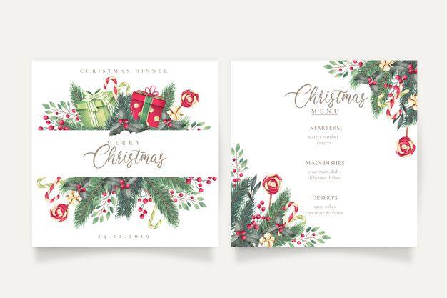 Cute Christmas Menu And Card Template Fr Premium Vector Freepik Vector Watercolor Christmas Men Christmas Cards Free Free Christmas Christmas Vectors