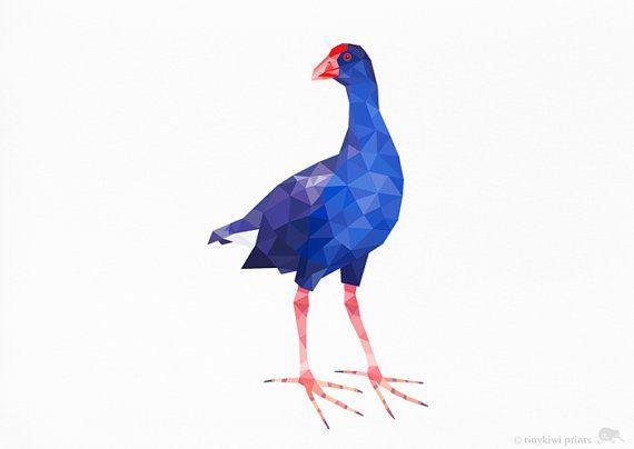 Pukeko, New Zealand Bird, Geometric print, Original illustration, Animal print, Minimal art, Nursery wall art