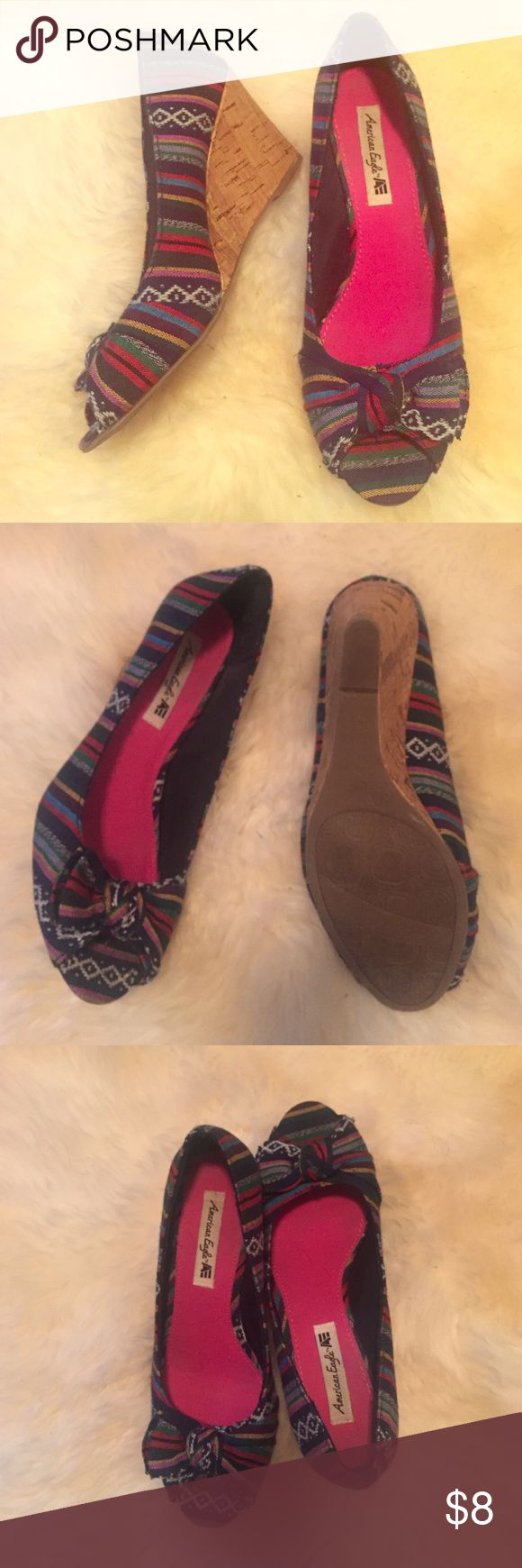 WORN ONCE Multi Coloured Tribal Open Toe Wedges Multi Coloured Tribal Open Toe Wedges American Eagle by Payless Shoes Wedges