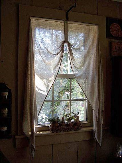 $57.95 Primitive Loop Curtains. tobacco cloth fabric.