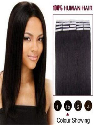 Buy Best Hair Extensions for 8 - 32 Inches Black Straight Tape In Human Extensions at Wigsbeautymall.com 10 pieces/pack 60g #Besthairextensions
