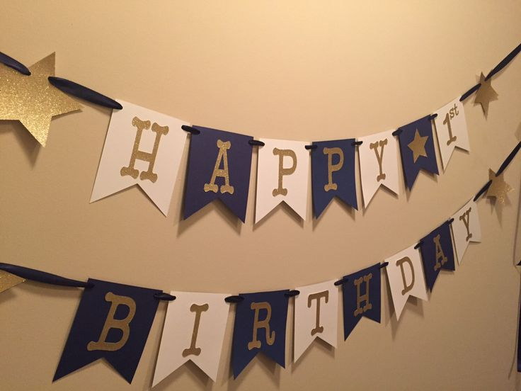 Star Happy Birthday Banner, happy first birthday banner, navy and gold banner, on the night you were born banner, twinkle twinkle by PoshPrettyPaper on Etsy https://www.etsy.com/ca/listing/266730890/star-happy-birthday-banner-happy-first