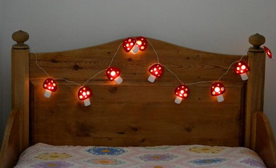 Toadstool Battery Led Fairy String Lights By Handmadeandsewon   Girls Bedroom