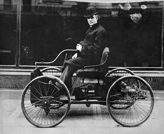 Quadricycle. Built in 1896 by Henry Ford in a workshop behind his home. Fords first car.