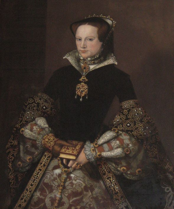 "Mary Tudor, later Queen Mary I. Daughter of Henry VIII and his first queen Catherine of Aragon. Born 1516 and died 1558. Married Phillip II of Spain in 1554. Known to history as ""Bloody Mary"" for her crimes against humanity during her reign, 1553-1558."