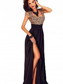 Вечернее платье в пол черное с открытой спиной