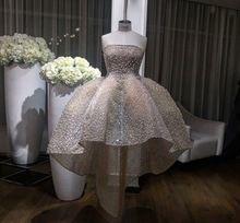 Lüks Custom Made Straplez Balo Balo Elbise Dantel Tam Boncuklu İnciler Puf Yüksek Düşük Gelinlik Modelleri(China (Mainland))