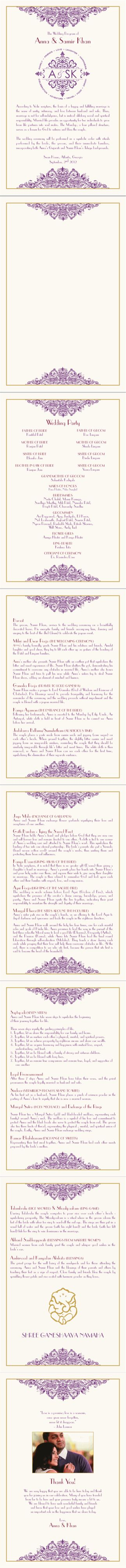 Photo Indian Wedding Program with the full ceremony description