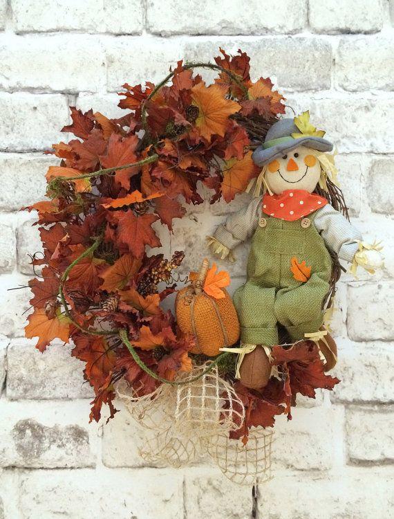 Scarecrow+Wreath+Fall+Wreath+Front+Door+by+AdorabellaWreaths