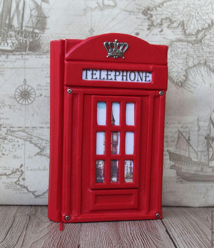 """Купить Блокнот кожаный """"Телефонная будка"""" - ярко-красный, блокнот ручной работы, блокнот"""