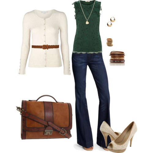 Cute for fall: Shoes, Cream Cardigans, Green Tops, White Sweaters, Color Combos, Jeans, Fall Outfit, Heels, Bags