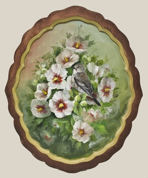 Jansen Art Online Store - DVD1043 Pied Flycatcher and Rose of Sharon, $31.95 (http://www.jansenartstore.com/dvd1043-pied-flycatcher-and-rose-of-sharon/)