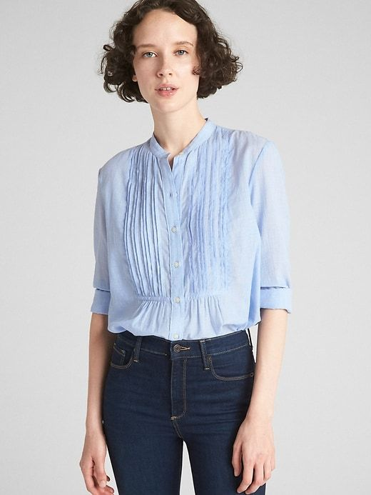 d89949284052c Gap Womens Long Sleeve Pintuck Shirt In End-On-End Cotton Blue Stripe