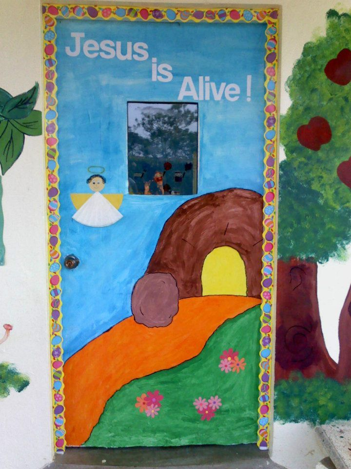 62 best classroom door decorations gift and craft images for Jesus is alive craft ideas