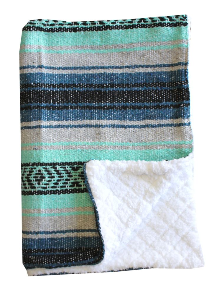 Blue, Mint and Grey Baja Baby blanket. Super soft sherpa on one side paired with Mexican blanket on the other.