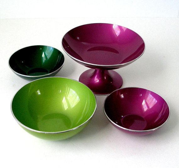 1960s Vintage 4 Pcs EMALOX Norway 1 Footed Dish 2 by FultonLane
