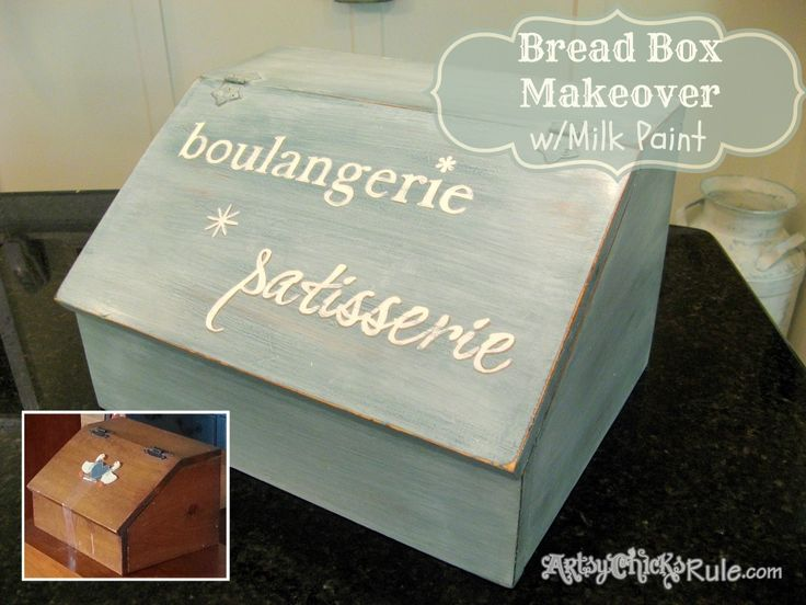 Turn an old dated 80's Bread Box to French Fabulous {Miss Mustard Seed Milk Paint} - Artsy Chicks Rule #missmustardseedmilkpaint #milkpaint