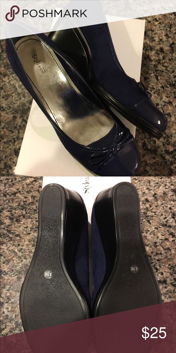 Navy Wedges  SZ 8.5 Navy Wedges  SZ 8.5 - worn once Style & Co. Style & Co Shoes Wedges
