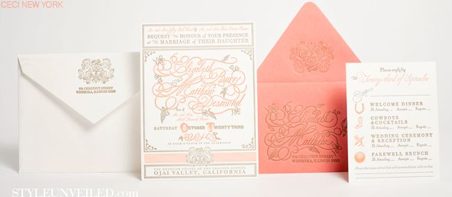 Style Unveiled - Style Unveiled | A Wedding Blog - Coral & Bronze Wedding Invitation Suite