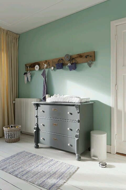 Mint grey nursery- love the wall color