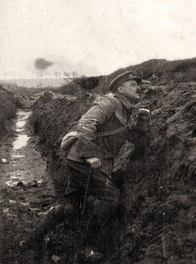 Battle of the Somme. An officer of 183 Tunneling Company, Royal Engineers, looks warily over the top. His men had dug and detonated the large mine blown at Kasino Point, near Carnoy. Private collection of Richard van Emden who wrote the book: The Somme, The Epic Battle in the Soldiers' Own Words and Photographs.