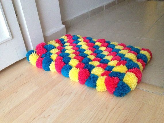 Blue pink yellow Pom Poms Bath Mat Bathroom by NesrinArt on Etsy, $42.00-make in all pinks for ladybugs room??