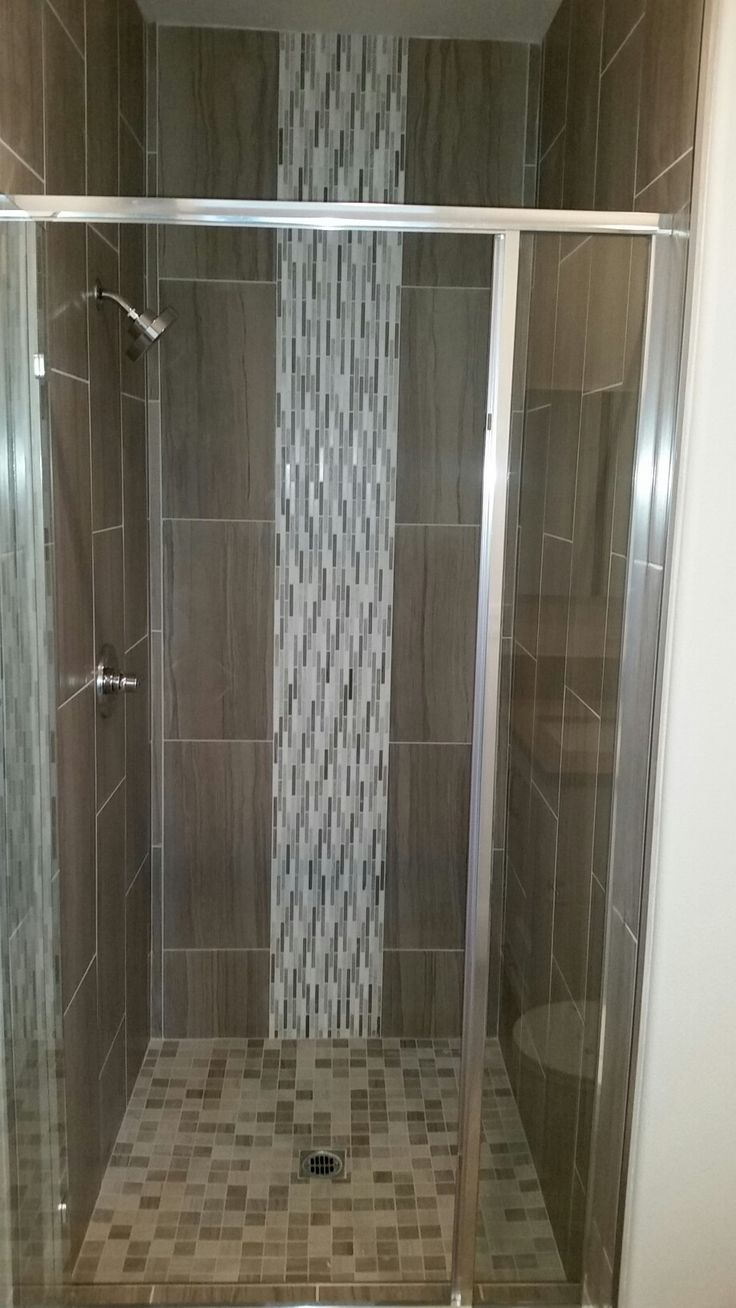 Secondary Bath Shower With Emser 12x24 Vertical Tile And Vertical Jeffrey Court Mosaic Liner