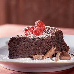 Dark-Chocolate Soufflé Cake - This incredible chocolate cake tastes so indulgent, it's hard to believe it weighs in at just over 200 calories and 6 grams of fat per serving.
